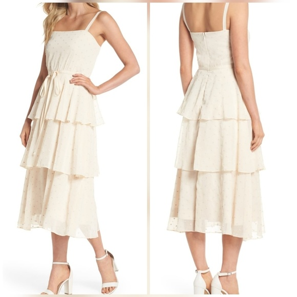 Florence Chiffon Embroidered Tiered A-Line Dress 8